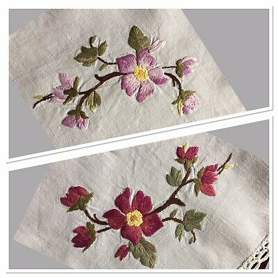 """Lovely Vintage Linen Tray Cloth Hand Embroidered 15"""" x 19"""" VGC Floral Pink"""