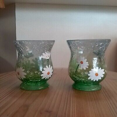 Yankee Candle Daisy Crackle Glass Votive Holder Set of 2