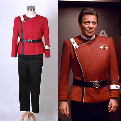 Star Trek II-VI Zorn des Khan starfleet Kostüm Rot Uniform Halloween NEU