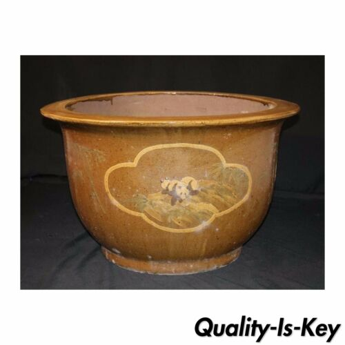 OVERSIZED Asian Chinese Panda & Bamboo Pottery Jardinere Planter Flower Pot