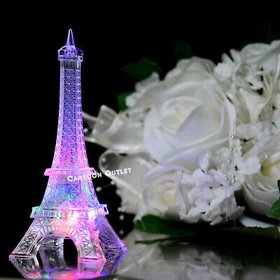 PARIS EIFFEL TOWER CAKE TOPPER BITHDAY TABLE DECORATION LED LIGHT 5.5
