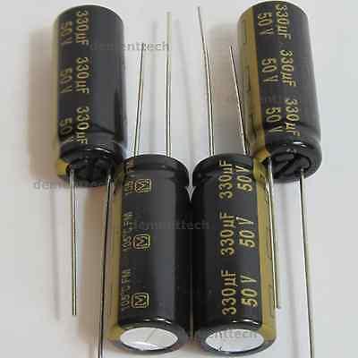 4x Panasonic Fm 330uf 50v Low-esr Radial Capacitors Caps 105c 10mm 10x25