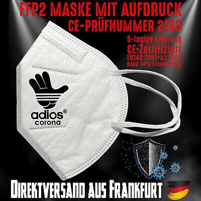 FFP2 Atemschutzmaske Mundschutz Mundmaske Zertifiziert CE 2163 Adios Corona