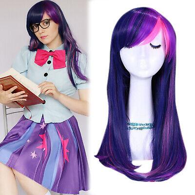 Hot! My Little Pony Twilight Sparkle Cosplay Wig Mixed Lila Rosa Perücke Wihs