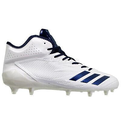 ADIDAS ADIZERO 5-STAR 6.0 MID Mens Football Cleats - White / Navy Blue - Size 13