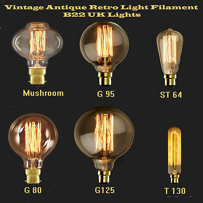 Edison B22 60W Bulb Bayonet Vintage Antique Retro Filament Lamp Lighting