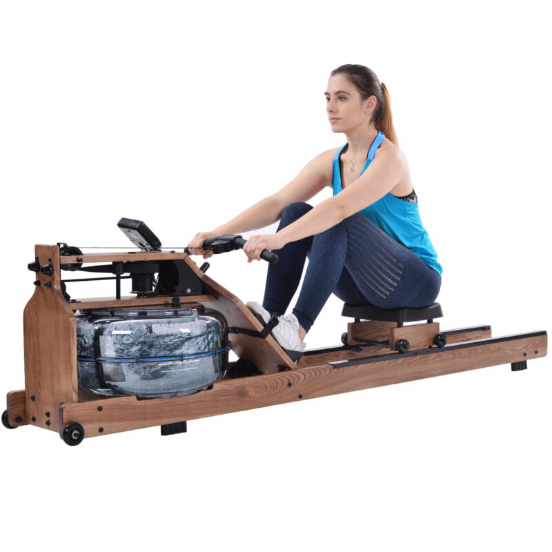 Water Rower Cardio Fitness Natural Wood Rowing Machine LCD Monitor Home Exercise