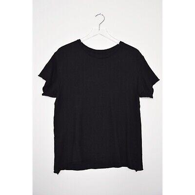 THE ELDER STATESMAN Cashmere Silk Blend T-Shirt Crew Sweater Top Black Medium
