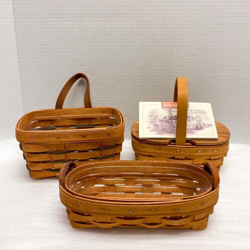 Longaberger Small Basket SET 3 Vintage 90