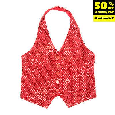 MISS GRANT Waistcoat Size 6-7Y / 116-122CM Red Sequins Embellished Halter Neck