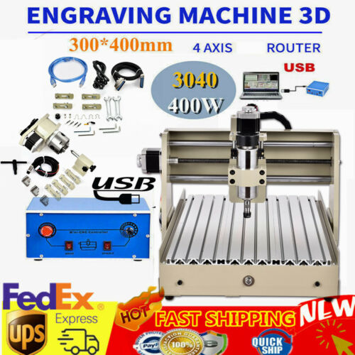 CNC Router 4 Axis USB 3040 Engraving Mill Engraver Machine M