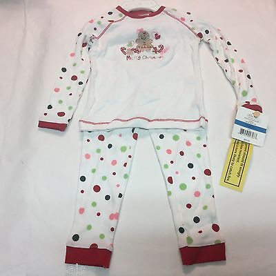 Little Me Girls Cotton Christmas Pajamas White Multicolored Dots  24 months ()