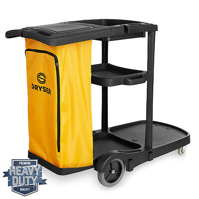 Commercial Janitorial Cleaning Cart Caddy With Cover Shelves And Vinyl Bag