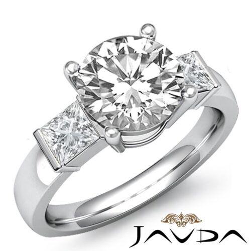 Fine Round Diamond Engagement 3Stone Bar Set Ring GIA F SI1 14k White Gold 2.1ct
