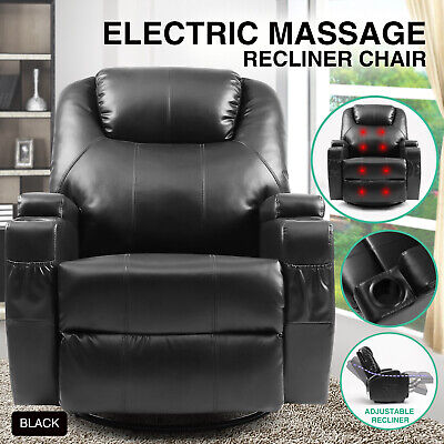 Electric Control Heated Massage Chair Leather Power Recliner Rocker Sofa Swivel