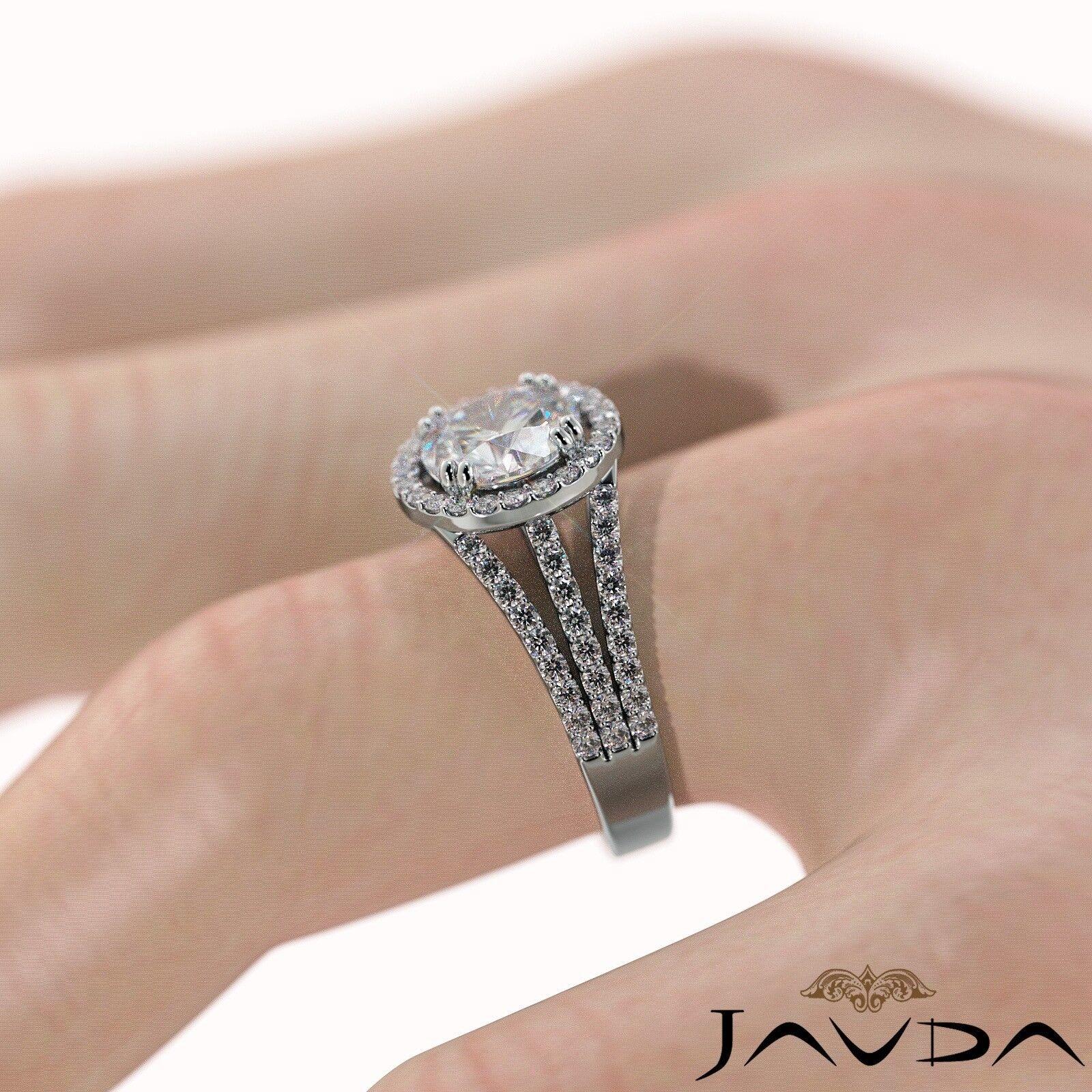2ct Trio Shank Halo Sidestone Round Diamond Engagement Ring GIA E-VS2 White Gold 5