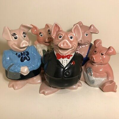 🐷 Complete Family Set NATWEST WADE PIGGY BANKS All Pigs With Original Stoppers!