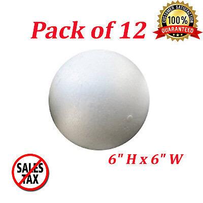 6 Inch Foam Balls White Polystrylene Science Craft Non Styrofoam Ball 12 - 6 Inch Styrofoam Balls