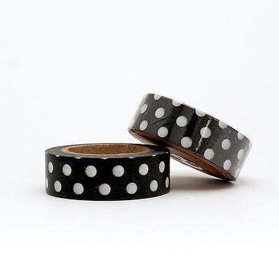 Washi Tape Black and White Polka Dot Spots15mm x 10m