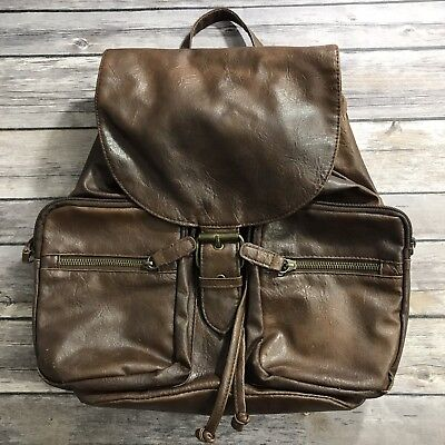 Brown Claire's Faux Leather Backpack / Purse Book bag Hippie Boho Spacious Womem - Boho Leather
