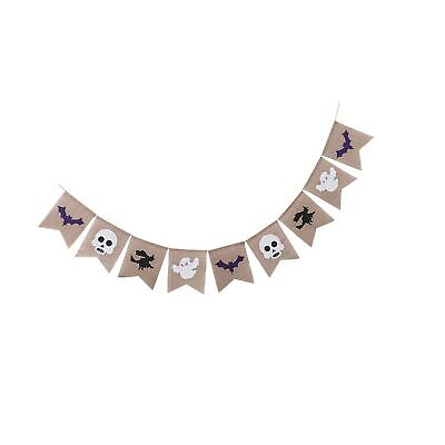 Halloween Burlap Banner Garland (Assembled) with Black Witch White Skulls Gho...