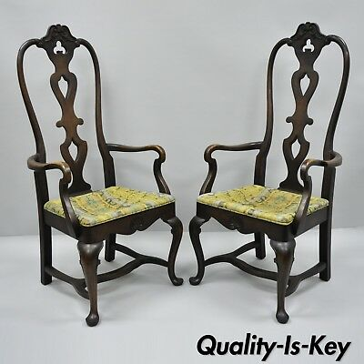 High Back Italian Baroque or Swedish Rococo Style Dining Armchairs Chairs a Pair ()