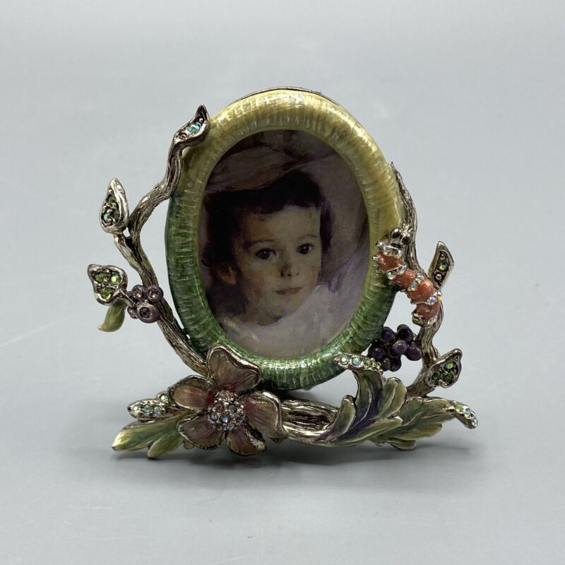 """Jay Strongwater Allegra Twig and Flower Caterpillar Oval Photo Frame 3"""""""