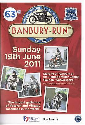 Vintage Motorcycle club Banbury Run programme 2011 mint
