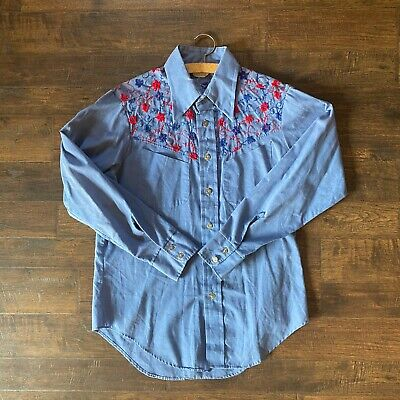 80s Tops, Shirts, T-shirts, Blouse   90s T-shirts CareerClub Focus 1980s Embroidered Floral Western Shirt with Metal Buttons $25.00 AT vintagedancer.com