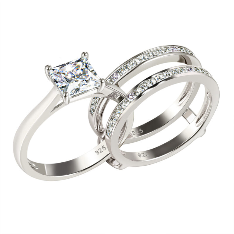 Wedding Engagement Ring Set For Women Princess White Cz 925 Sterling Silver 5-12