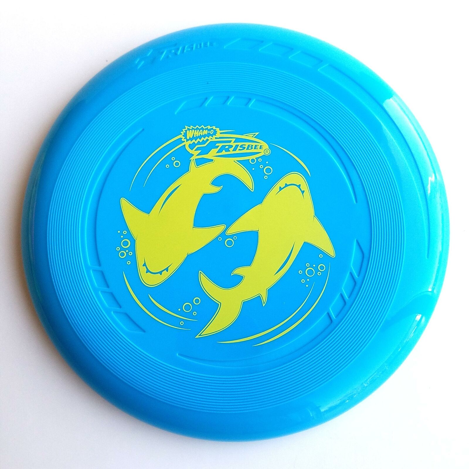 """Kids 9"""" WHAM-O  Frisbee Flaying Disc Blue with Yellow Shark"""