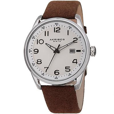 Men's Akribos XXIV AK1029BR Quartz Date White Brown Seude Leather Strap Watch