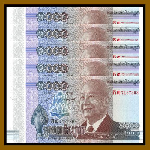 Cambodia 1000 (1,000) Riels x 5 Pcs, 2012 P-63 Commemorative King Sihanouk Unc