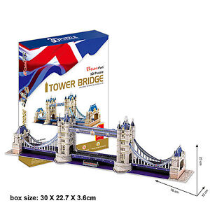 3D Jigsaw Puzzle London Tower Bridge Decorative Scale Model Kids Fun Gift