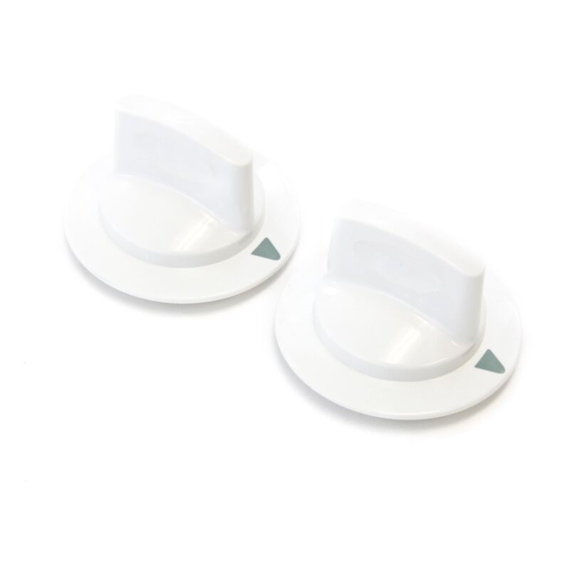 2 White Dryer Timer Control Knobs Fits General Electric Hotpoint RCA WE1M652