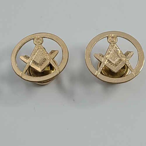 Antique Freemason Masonic 10K Gold Filled Front Hand Engraved Pair Cuff Buttons