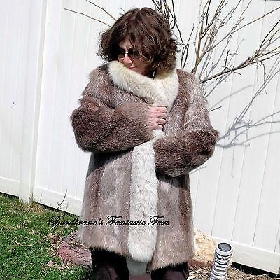 Vintage NUTRIA FUR COAT Tuxedo FOX COLLAR jacket Stroller Medium-10