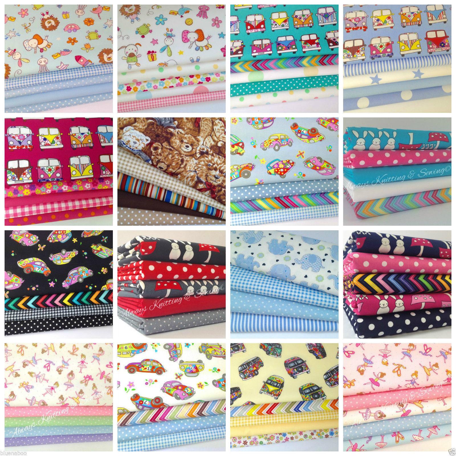 childrens/nursery themed fat quarter bundles 100 % cotton fabric