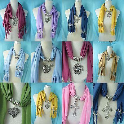 *US Seller* 5 jewelry scarves wholesale lot bulk sale pendant necklace scarf
