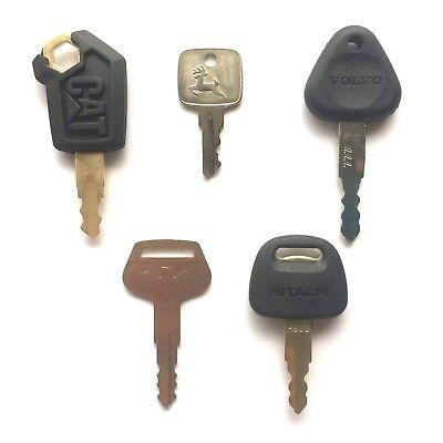 Heavy Equipment Key Set - 5 Keys Cat John Deere Volvo Komatsu Hitachi