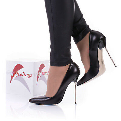 Pu High Heel Pumps (High Heels Pumps Metallabsatz 12 - 13 cm Nappaleder Schwarz Made in Italy)