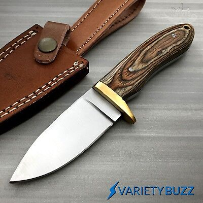 (Hunting Survival Skinning Fixed Blade Knife Full Tang w/ Leather Sheath WOOD New)