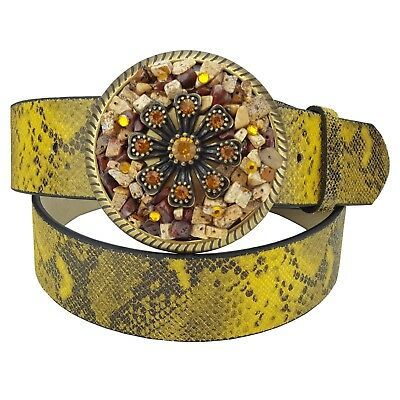 Leather Belt in Colorful Python Print with Fancy Crystal & Stone Buckle  Python Print Belt