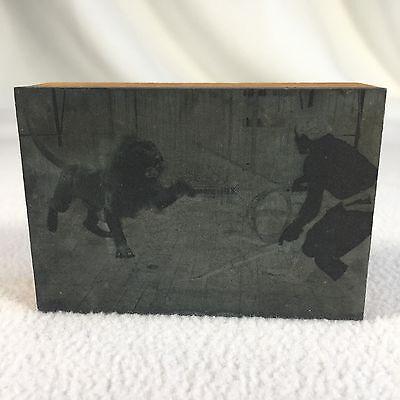 Vintage Lion Tamer Print Block Print Stamp On Wood Vintage Circus Newspaper