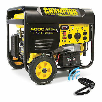 Champion Portable Wheeled Wireless Start Gas Powered 3500 Watt Generator Used