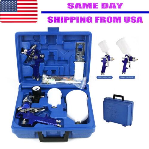 0.8 / 1.4 Nozzle Paint Base Primer HVLP 2-Spray Guns Kit Gauge Auto Gravity Feed