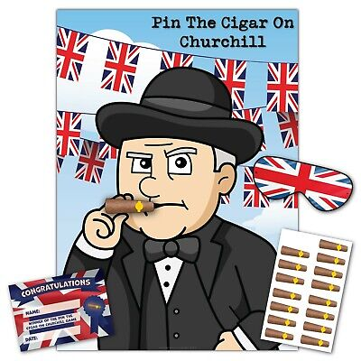 VE Day Party Game –Pin The Cigar On Churchill - 16 Player,Blindfold,Winner Prize