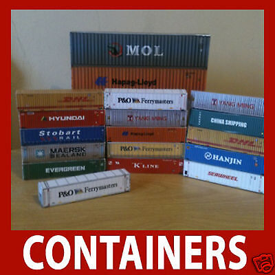 Shipping Container Model Card Kits Z Scale 1:220 x 12 Mixed 40ft / 45ft Z Gauge