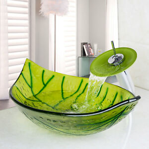 US Bathroom Leaf Shaped Glass Vessel Basin Sink&Bowl Waterfall Faucet Combo