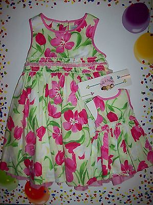 Polly & Friends Dress Girls Sz 2Toddler Green Floral Print Plus Doll Dress